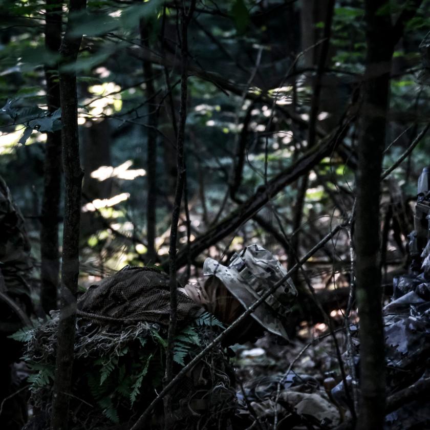 certain aperture military simulation airsoft milsim larp recon team man camouflage forest