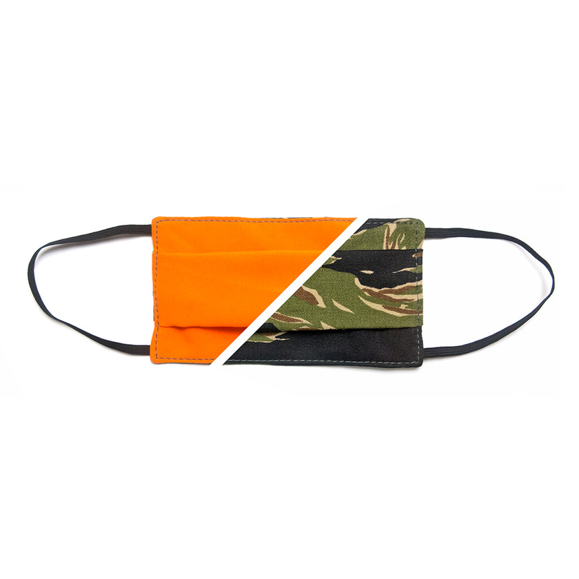 Blackline Simulations - Blog - Tactical face masks covid-19 face covering camouflage balaclava respirator Perroz Designs Tigerstripe Blaze Orange reversible