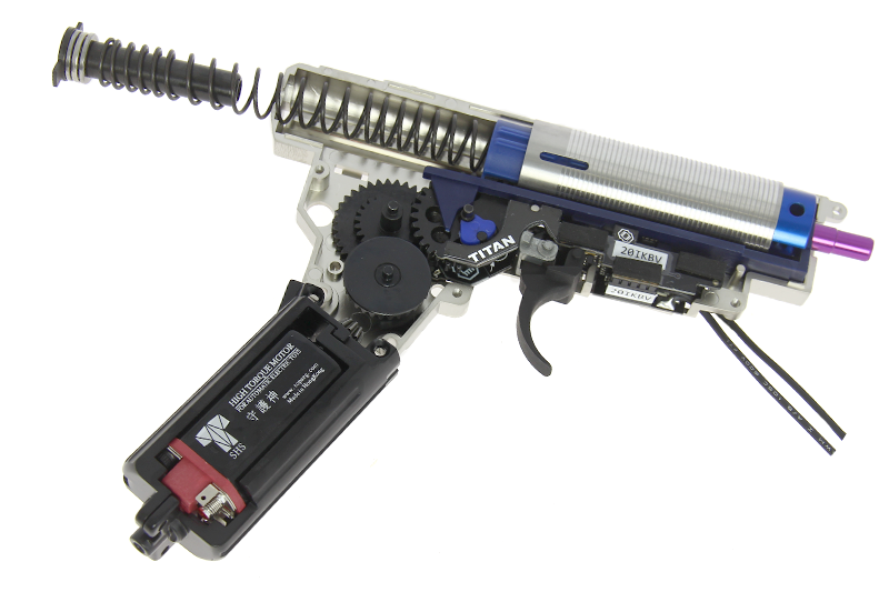An image of the gearbox inside of most airsoft guns.