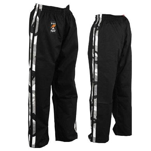 Full Contact Trousers - Black W/ 2 Camo Stripes Cotton