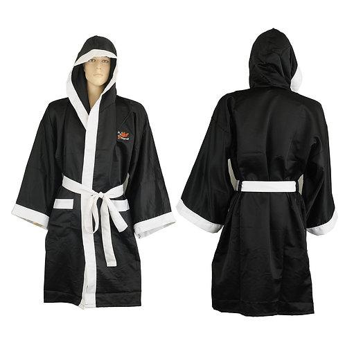 Plain Satin Boxing Gown - Black