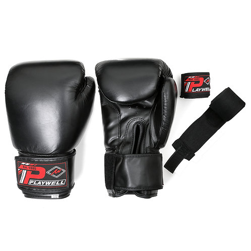 Boxing Gloves Leather - With Free Boxing Wraps - Black