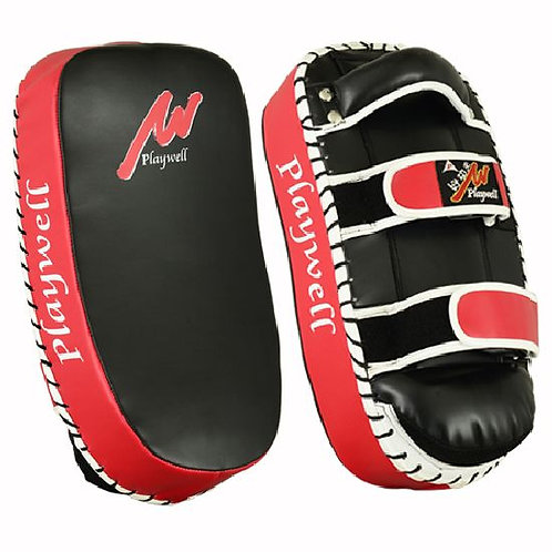 Deluxe Leather Curved Thai Arm Pad  Black/Red: SINGLE