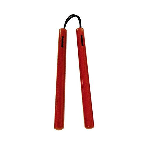 Nunchaku Round Red Oak With Cord  - C109