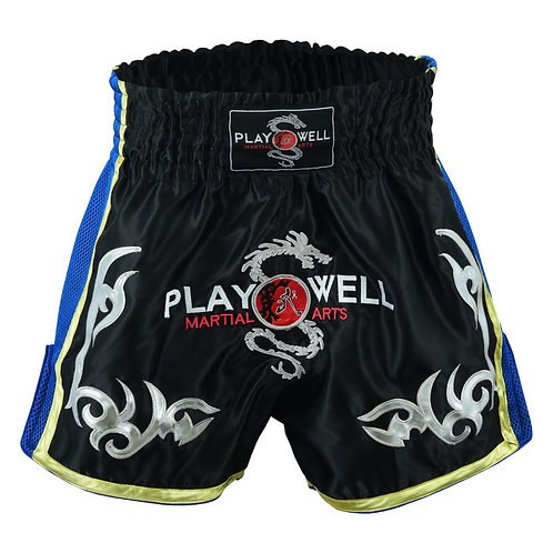 Muay Thai Competition Playwell Fight shorts - Black/Blue