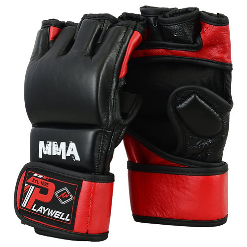 MMA Leather Elite Black/Red Grapling Fight Gloves