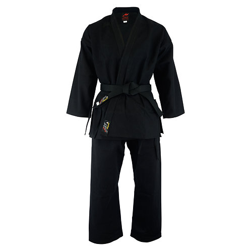 Adults Karate Deluxe Silver Brand Suit - Black 10oz