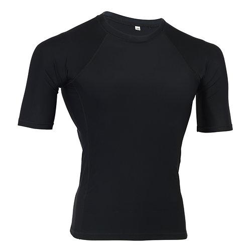 MMA Plain Black Short Sleeve Rash Guard