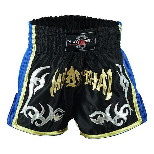 Muay Thai Competition Mesh Tribal Fight shorts - Black/Blue