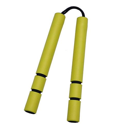 NR-028: Foam Nunchaku Cord With Grip : Yellow grips  ( E129)