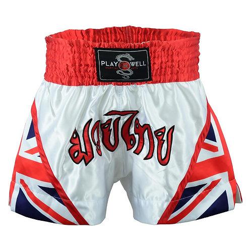 Muay Thai Competition White Fight shorts - Uk Flag