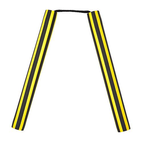 NR-014B: Foam Nunchaku with Cord Yellow / Black Stripes