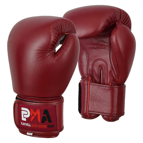 Elite Leather Classic Maroon Boxing Gloves