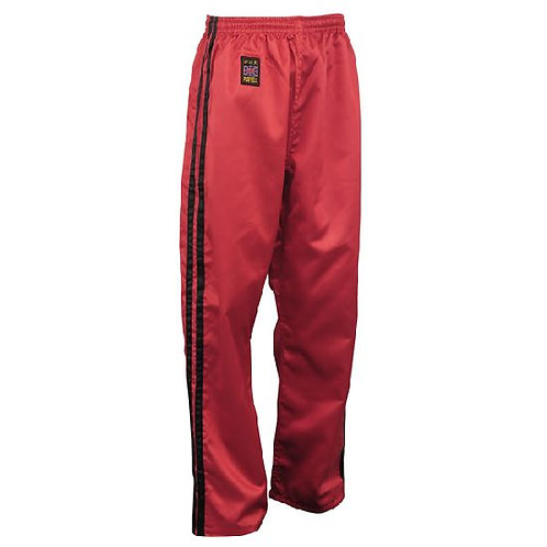 Full Contact Trouser - Red W/ 2 Black Stripes Satin