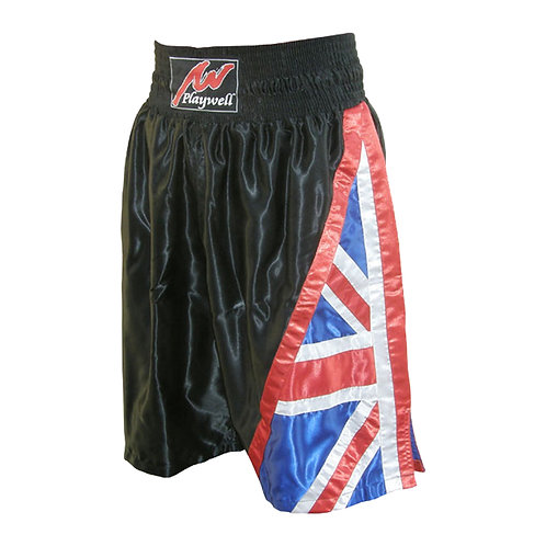 Boxing Competition Black Satin Training Shorts - Uk Flag Series