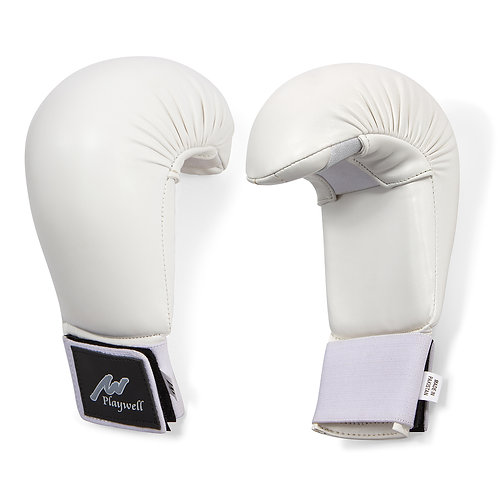 Deluxe Competition Karate Mitts White Vinyl