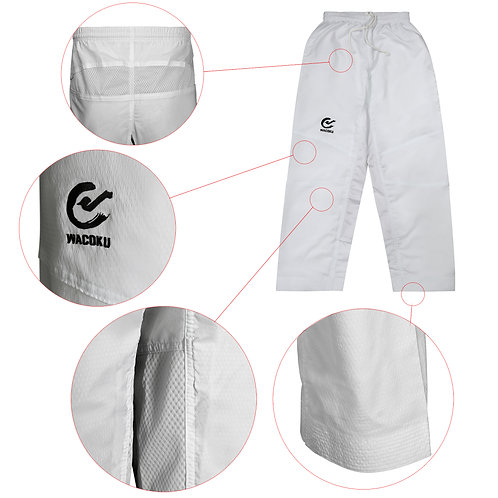 Elite Ultra Light White Taekwondo Training Pants  - Adults