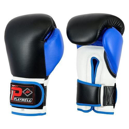 Elite Range: Pro V2P Leather Boxing Glove - Black/Blue