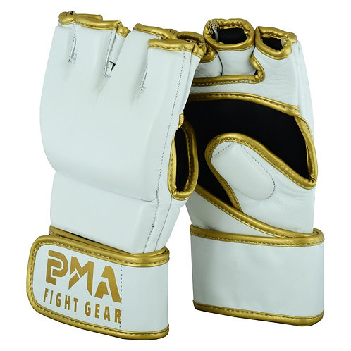 MMA Leather Elite White/Gold Grappling Fight Gloves