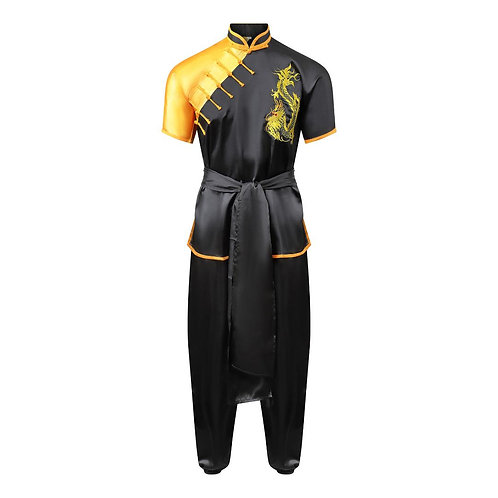 Competition Wushu Silk Uniform - Black/Yellow