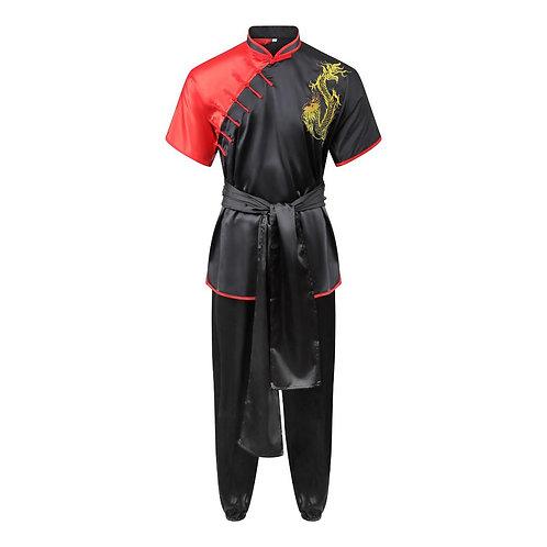 Competition Wushu Silk Uniform - Black/Red