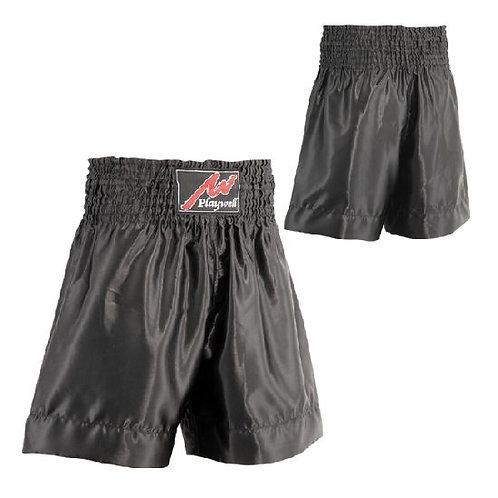 Plain Black Satin Boxing Training Shorts