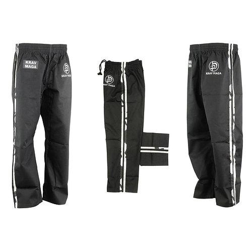 Krav Maga Combat Trousers - Black W/ 2 Camo Stripes Cotton