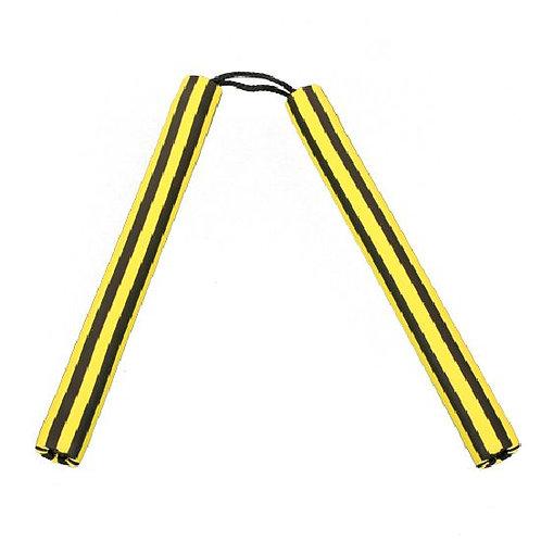 Foam Nunchaku with Cord Yellow / Black Stripes - Pack of 10pcs