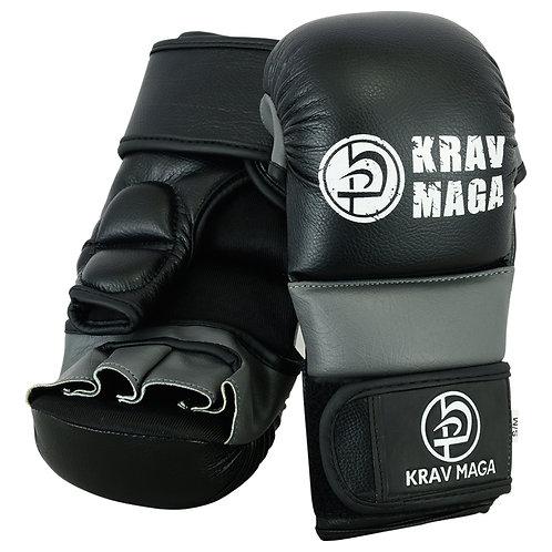 Krav Maga Elite Hybrid MMA Sparring Gloves - 7oz  (Black/Grey )