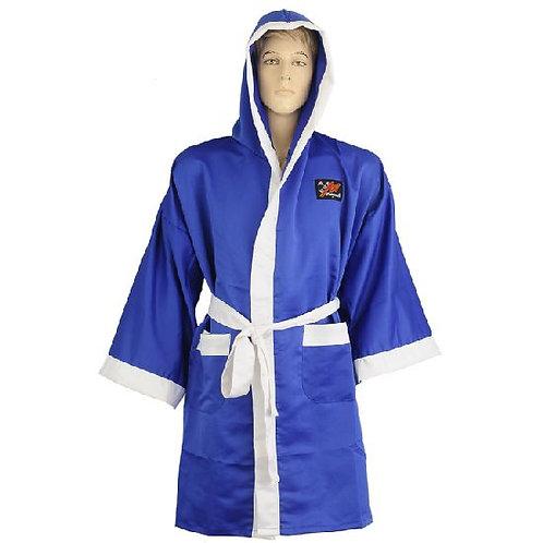 Plain Satin Boxing Gown - Blue