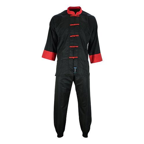Adults Kung Fu Elite Microfibre Suit - Black/Red