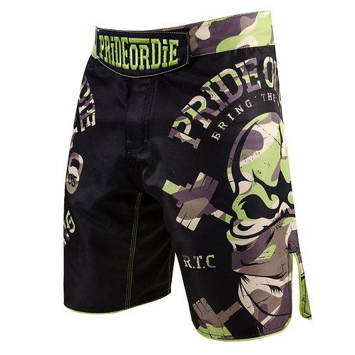 "Pride or Die MMA Black ""Raw Training"" Camo Fight Shorts"