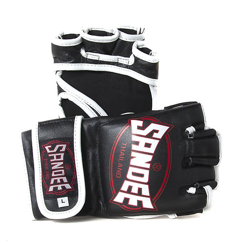 Sandee MMA Leather Fight Gloves  - Black 4oz