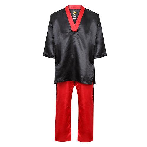 Competition Kickboxing Satin Uniform - Black/Red