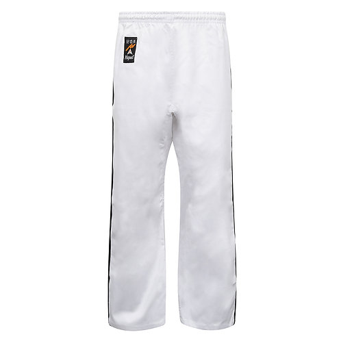 Full Contact Trousers - White W/ 2 Black Stripes Cotton
