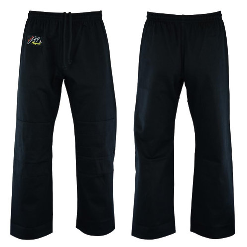 Judo Trousers: Bleached (Black) 10oz - (Double Padded Knees)