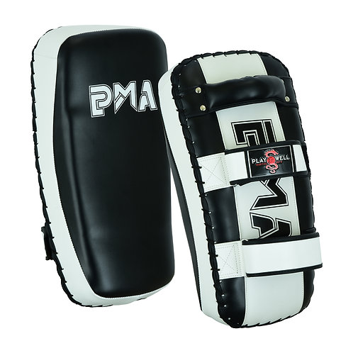 Deluxe Leather Curved Thai Arm Black/White SINGLE