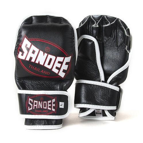 Sandee MMA Leather Fight Gloves  - Black 7oz