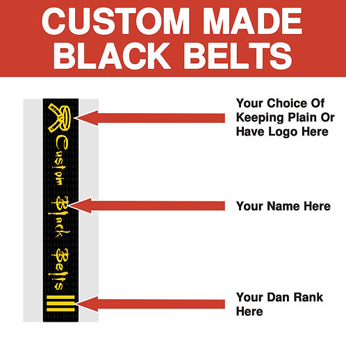 Custom Made Martial Arts Club Embroidered Belts