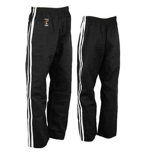 Full Contact Trousers - Black W/ 2 White Stripes Cotton