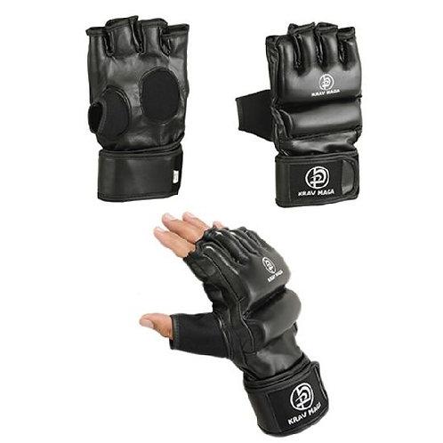 Krav Maga Leather Black Grappling & Striking Gloves