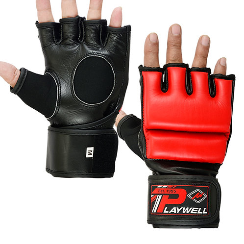 Hybrid MMA Leather Combat Grappling Gloves