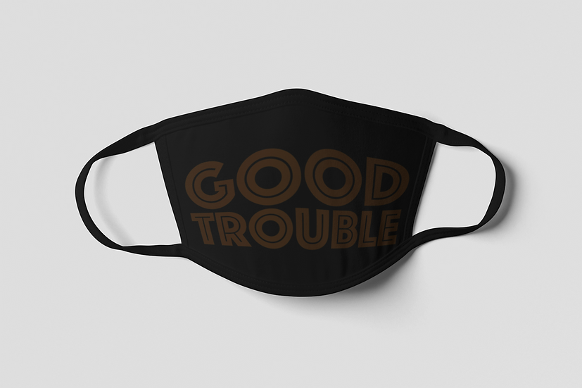 Good Trouble Face Mask - Brown