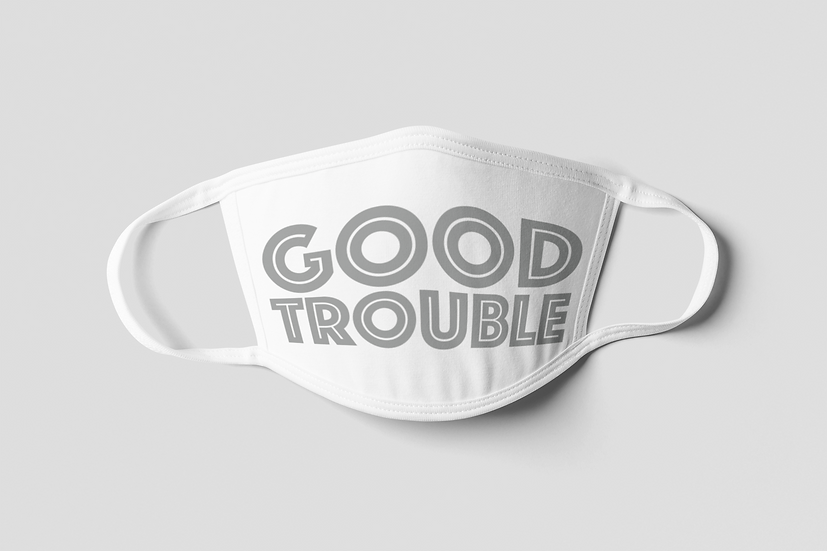 Good Trouble Face Mask - Gray