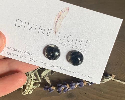 Black Obsidian Resin Earrings