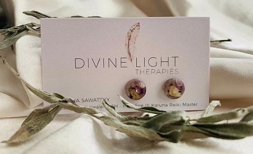 Birch & Amethyst Resin Earrings