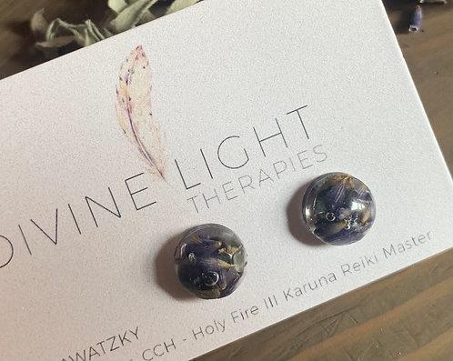 Black Obsidian & Lavender Resin Earrings