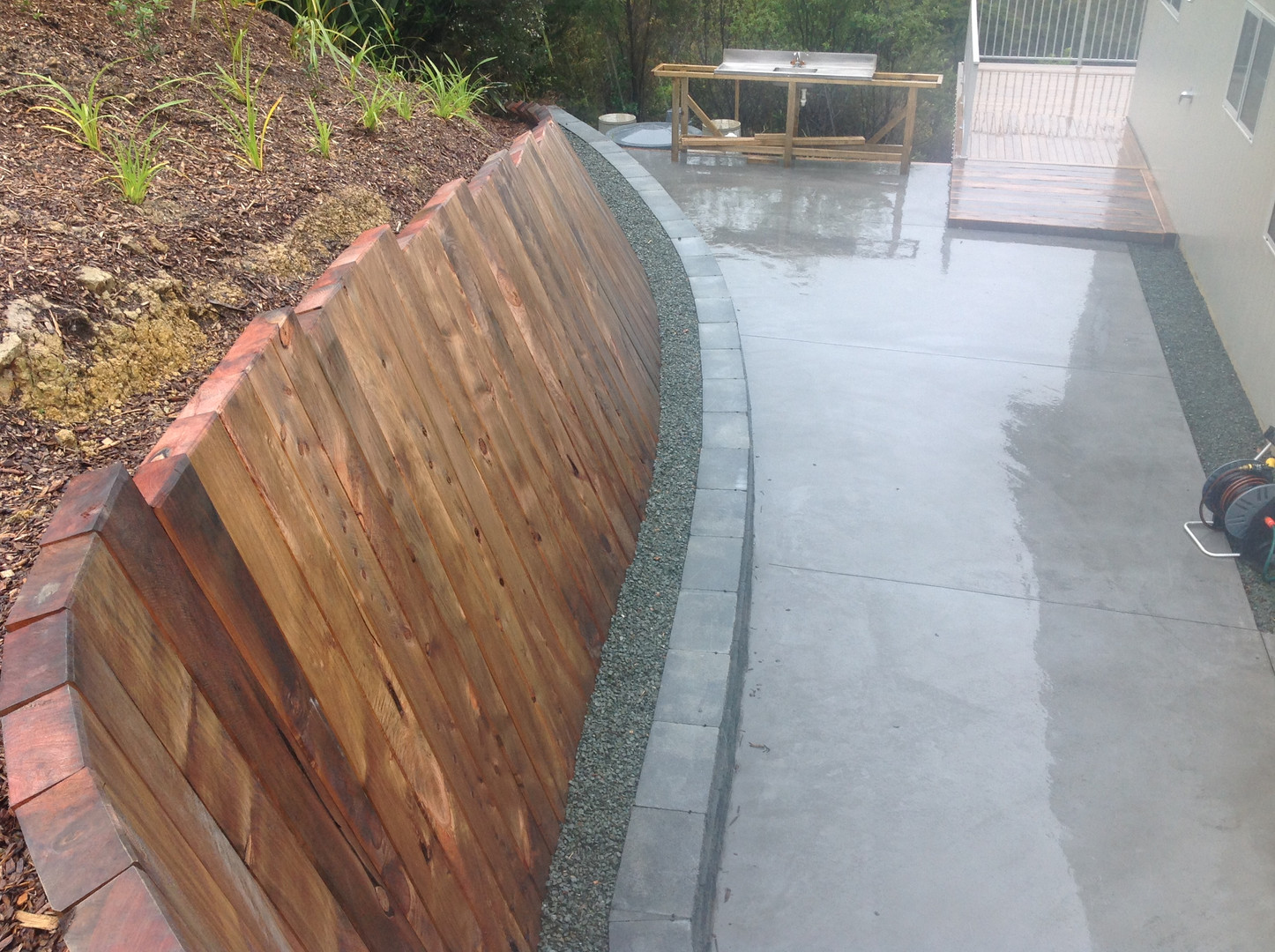 Keystone and Timber Retaining Wall with