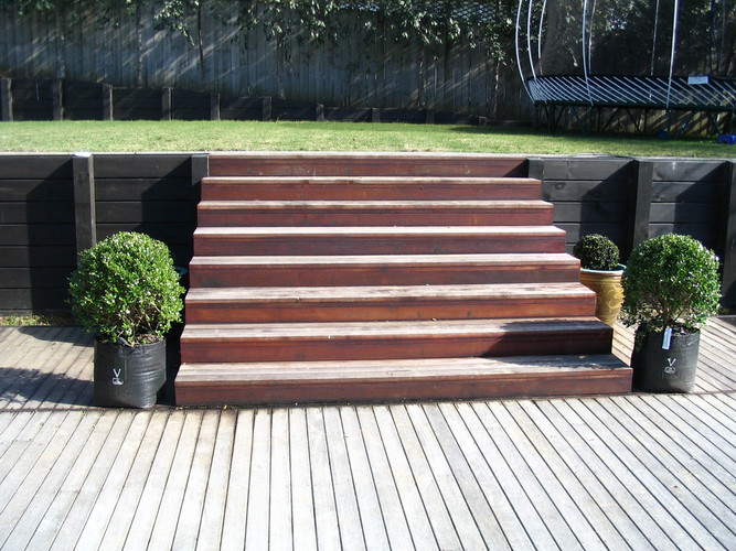 Steps and Timber Retaining Walls