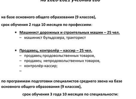 Дополнительный набор абитуриентов  до 1 сентября 2020 года